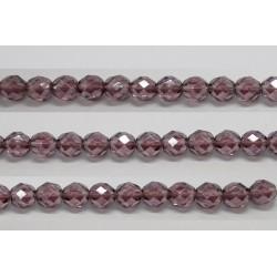 30 perles verre facettes amethyste lustre 6mm