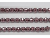 30 perles verre facettes amethyste lustre 10mm