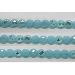 30 perles verre facettes aigue opale A/B 12mm