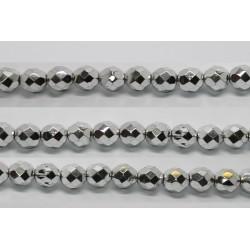 30 perles verre facettes argent 10mm