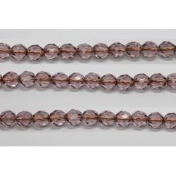 30 perles verre facettes amethyste trou cuivre 8mm