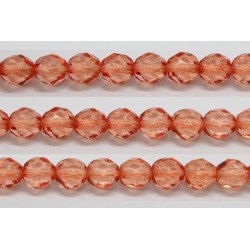 30 perles verre facettes orange fonce 8mm