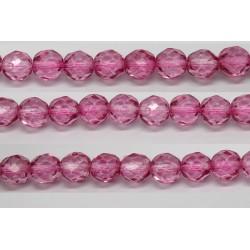 60 perles verre facettes rose fonce 4mm