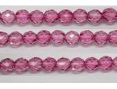 30 perles verre facettes rose fonce 8mm