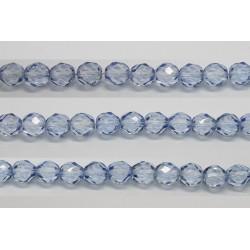 30 perles verre facettes saphir 6mm