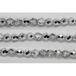 30 perles verre facettes demi-argent 8mm