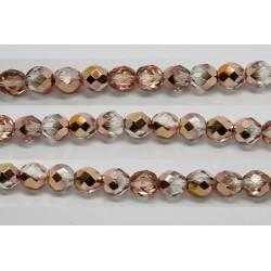 30 perles verre facettes demi dore 10mm