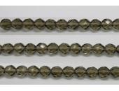 60 perles verre facettes gris fume 5mm