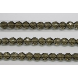 30 perles verre facettes gris fume 10mm