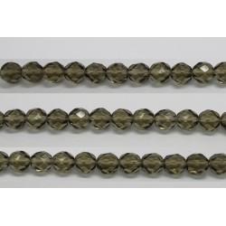30 perles verre facettes gris fume 12mm