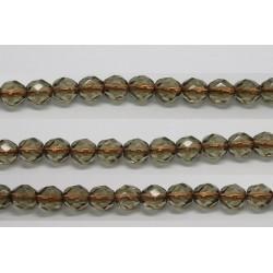 60 perles verre facettes gris trou cuivre 5mm
