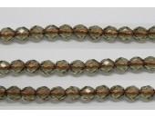 30 perles verre facettes gris trou cuivre 6mm