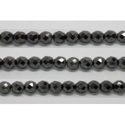 30 perles verre facettes hematite 12mm