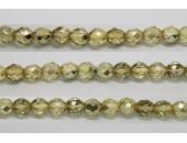 60 perles verre facettes jaune demi metalise 3mm