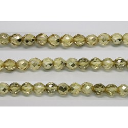 60 perles verre facettes jaune demi metalise 5mm
