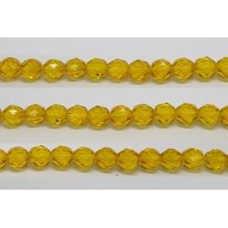 30 perles verre facettes jaune 8mm