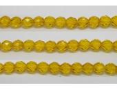 30 perles verre facettes jaune 14mm
