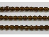 30 perles verre facettes kaki 6mm