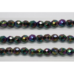 30 perles verre facettes noir A/B scarabe 8mm