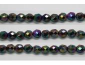 30 perles verre facettes noir A/B scarabe 10mm