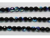 30 perles verre facettes noir irise 6mm