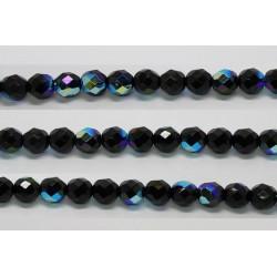 30 perles verre facettes noir irise 8mm