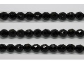 30 perles verre facettes noir 6mm