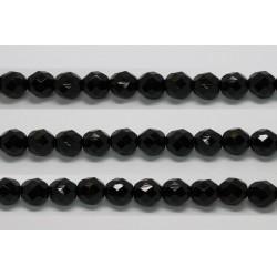 30 perles verre facettes noir 8mm