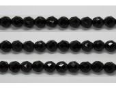 30 perles verre facettes noir 12mm