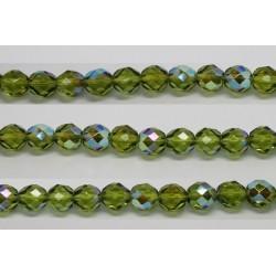30 perles verre facettes olivine A/B 14mm