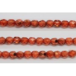 60 perles verre facettes orange fonce demi metalise 3mm