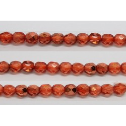 60 perles verre facettes orange fonce demi metalise 4mm