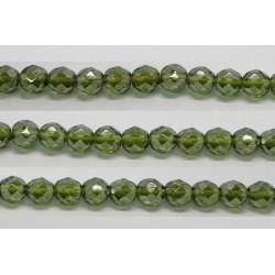 30 perles verre facettes olivine lustre 12mm