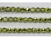 60 perles verre facettes olivine demi metalise 3mm
