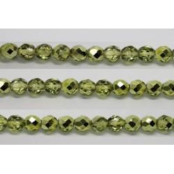 60 perles verre facettes olivine demi metalise 5mm