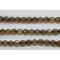 60 perles verre facettes poudre brun 4mm