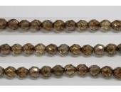 30 perles verre facettes poudre brun 12mm