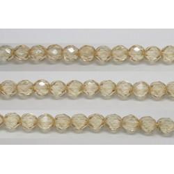 30 perles verre facettes poudre beige 6mm