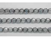 30 perles verre facettes poudre gris 6mm