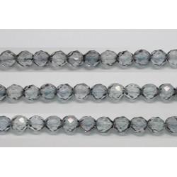 30 perles verre facettes poudre gris 8mm