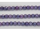 60 perles verre facettes poudre mauve 5mm