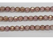 60 perles verre facettes poudre rose 3mm