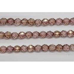 30 perles verre facettes poudre rose 14mm
