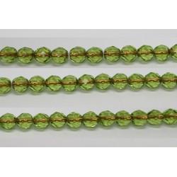 60 perles verre facettes peridot trou cuivre 5mm