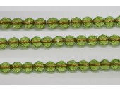 30 perles verre facettes peridot trou cuivre 6mm