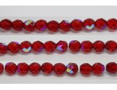 30 perles verre facettes rubis A/B 6mm
