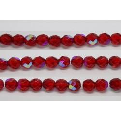 30 perles verre facettes rubis A/B 10mm