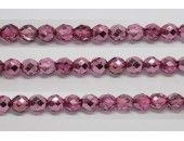 60 perles verre facettes rose fonce demi metalise 4mm