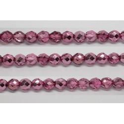 60 perles verre facettes rose fonce demi metalise 5mm