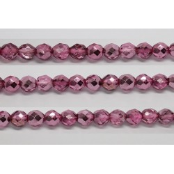 30 perles verre facettes rose fonce demi metalise 6mm